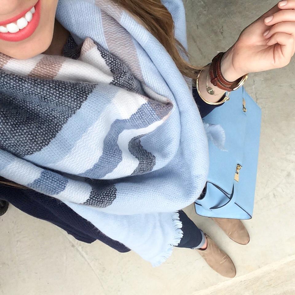 Blanket Scarf, Blue Plaid Blanket Scarf, Henri Bendel Uptown Satchel, Henri Bendel