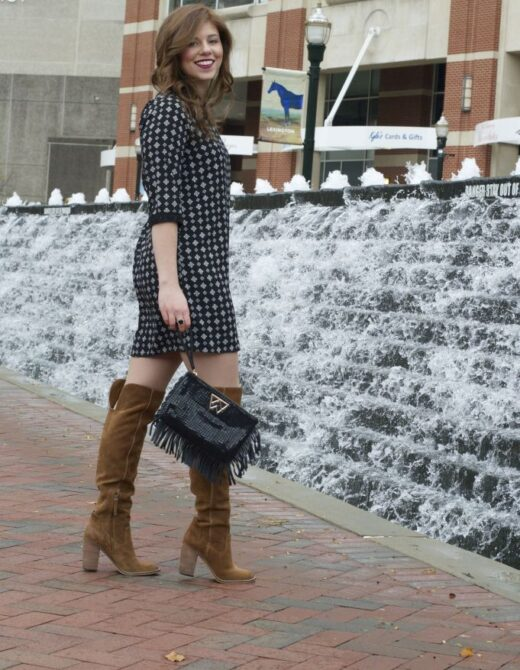 Holiday Dress, Christmas Dress, OTK Boots, Fringe Clutch, Holiday Clutch