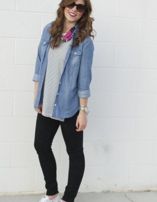 Loft Modern Skinny Jeans, Black Jeans, Old Navy Stripe Tunic, Loft Chambray Shirt, Shoreline Converse, Weekend Casual