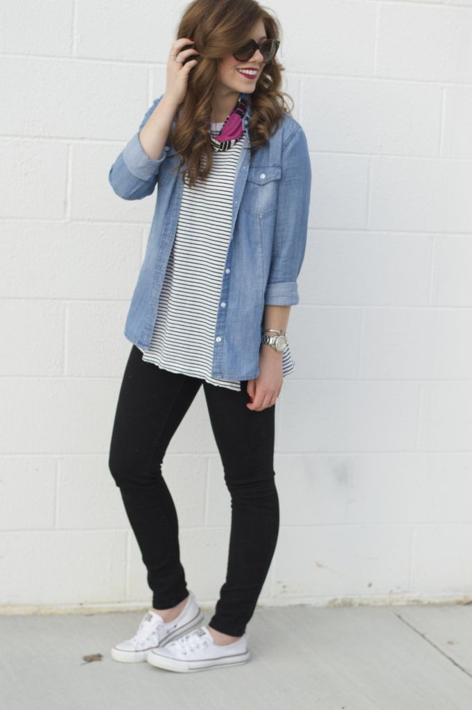 Loft Modern Skinny Jeans, Black Jeans, Old Navy Stripe Tunic, Loft Chambray Shirt, Shoreline Converse, Chucks