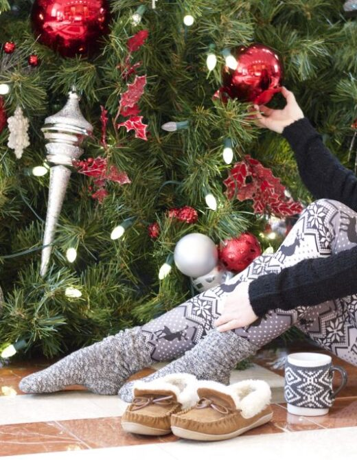 Christmas Morning, Christmas Style, Christmas Morning Pajamas, White Plum Leggings, Fair Isle Leggings, J.Crew Slippers