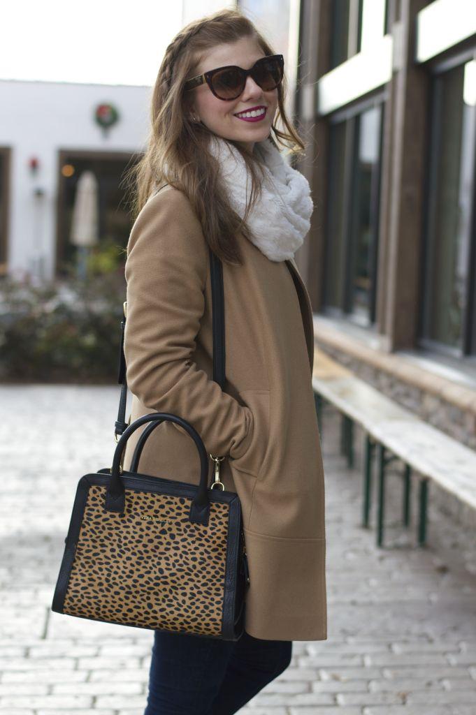 Vera Bradley Leopard Satchel, Leopard Satchel, Camel Coat, Faux Fur Scarf