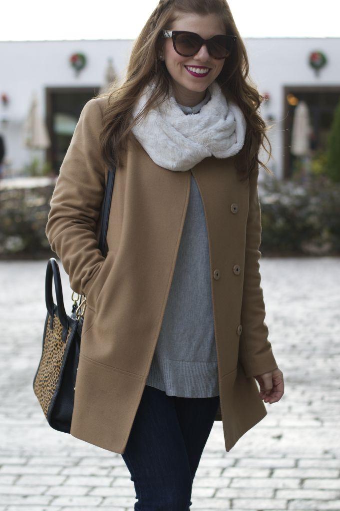 Vera Bradley Leopard Satchel, Leopard Satchel, Camel Coat, Loft Relaxed Tunic Sweater, Faux Fur Scarf