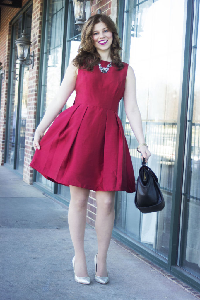 holiday party dress soprano bow back fit flare red dress red christmas - Red Dress For Christmas Party