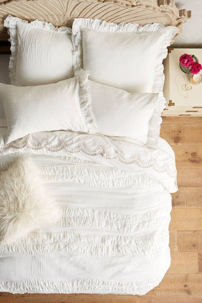 Bedding, Anthropologie, Anthropologie Bedding, Ivory Duvet Cover, Anthropologie Decor