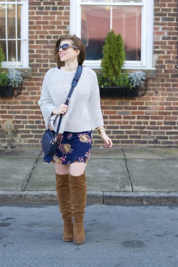 Winter Style, OTK Boots, Draper James, Draper James Circle Handbag, Floral Dress, Prada Sunglasses