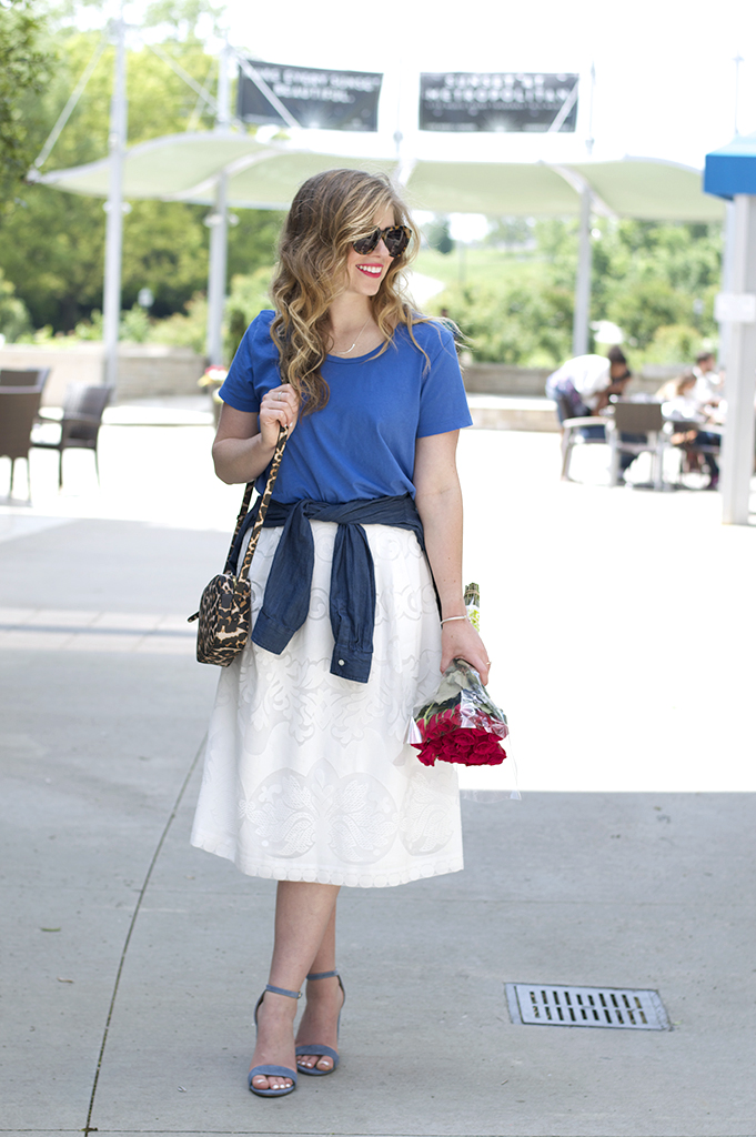 Concord Mills Sale, Summer Style, White Midi Skirt, Steve Madden Carrson Heels, Leopard Crossbody, Chambray Shirt, Date Night Style