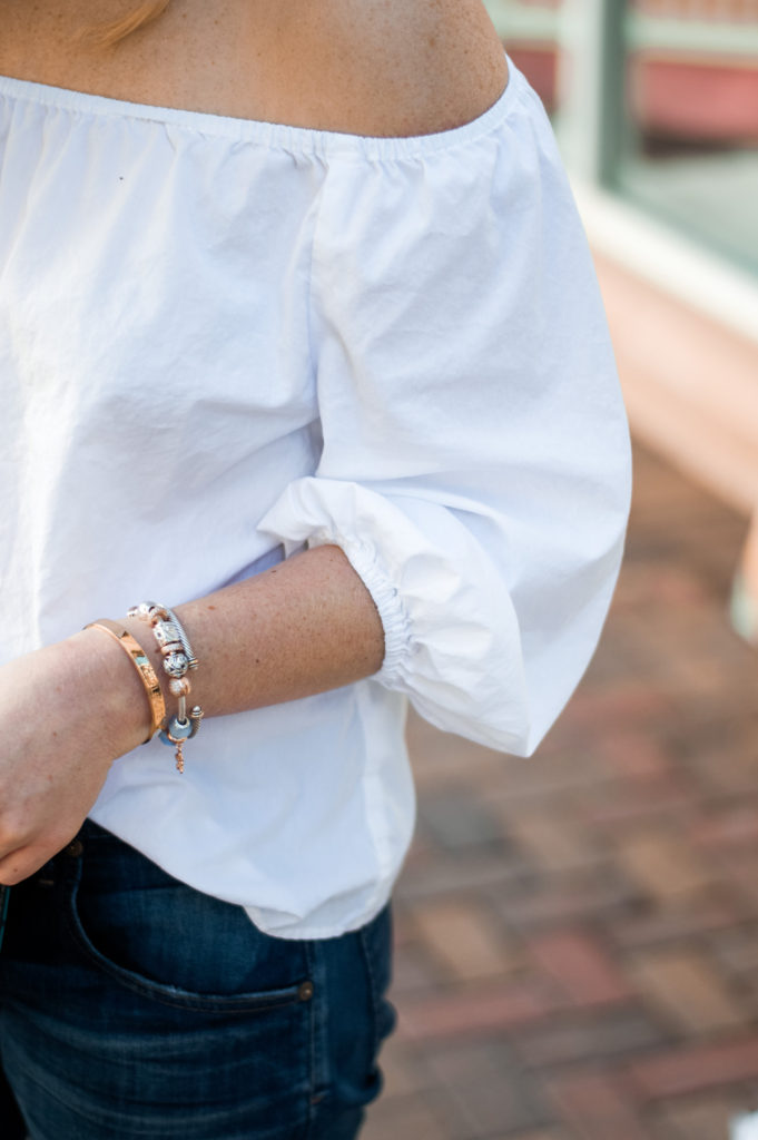 Pandora Bracelet, Pandora Stackable Rings, Pandora Ring, Summer to Fall Style, Draper James Clutch