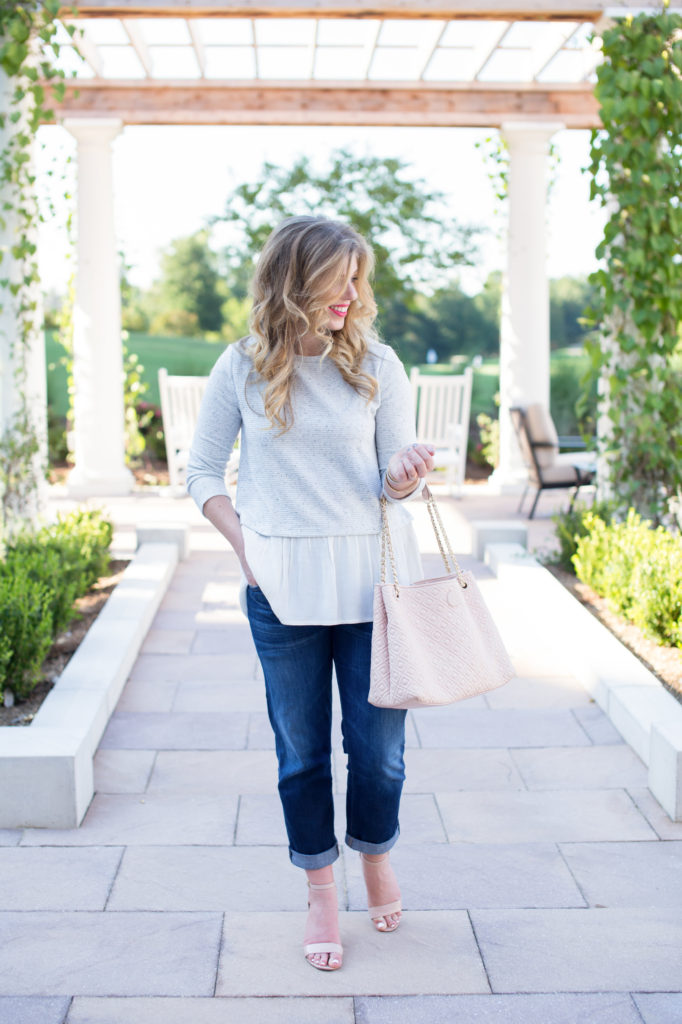 Tory Burch Marion Diamond Quilted Tote, Loft Mixed Media Peplum Top, Citizens of Humanity Boyfriend Jeans, Bp. Luminate Open Toe Sandals, David Yurman Cuff