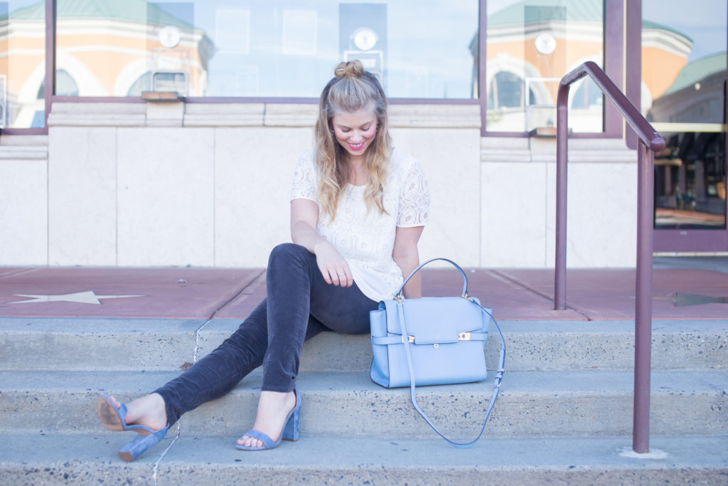 Pleione Double Layer Short Sleeve Lace Top, Kut from the Kloth Diana Stretch Corduroy Skinny Pants, Henri Bendel Satchel, Half-up Top Knot, Steve Madden Carrson Sandals, Summer to Fall Style