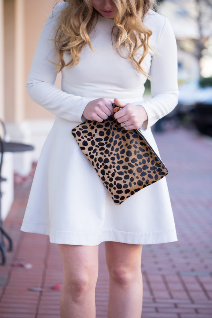 Shoshanna Rio Dress, White Long Sleeve Fit & Flare, Bp. Leopard Heels, Bauble Bar Statement Earrings, Clare V. Leopard Clutch