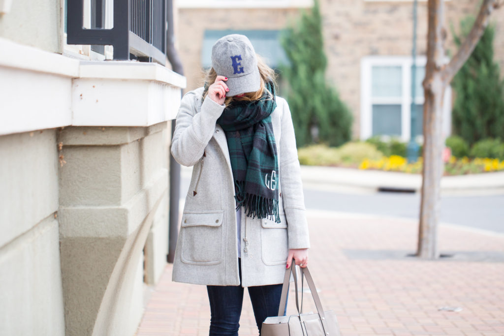 Mark & Graham Monogram Gifts, Mark & Graham Blanket Scarf, Mark & Graham Tech Case, Mark & Graham Monogram Wool Baseball Cap, J.Crew Parka, Weekend Style
