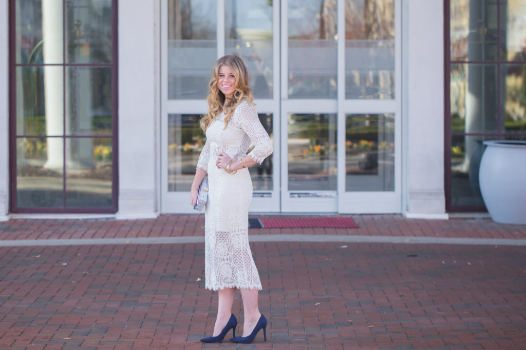 White New Years Eve Dress, Milly Marble Box Clutch, Alexis White Miller Lace Sheath Dress, David Yurman Bangle, Navy Suede Pumps