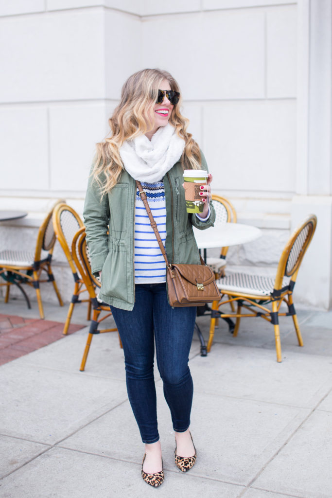Madewell Fleet Jacket, J.Crew Lightweight Wool Fair Isle Striped Sweater, Vera Bradley Quilted Tess Crossbody, Frame Skinny Denim, Ivanka Trump Chic Genuine Calf hair Flat