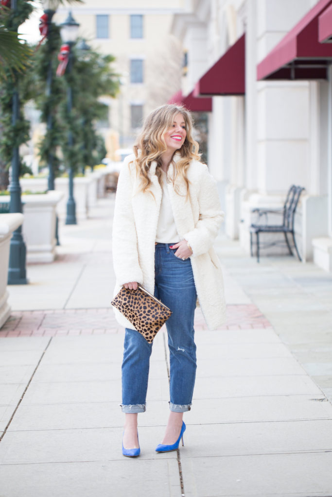 Mom Jeans, J.Crew Vintage Crop Jean, J.Crew Elsie Suede Pump, J.Crew Pearl and Crystal Earrings, Ivanka Trump Textured Faux Fur Coat, Anthropologie Ellie Sweatshirt