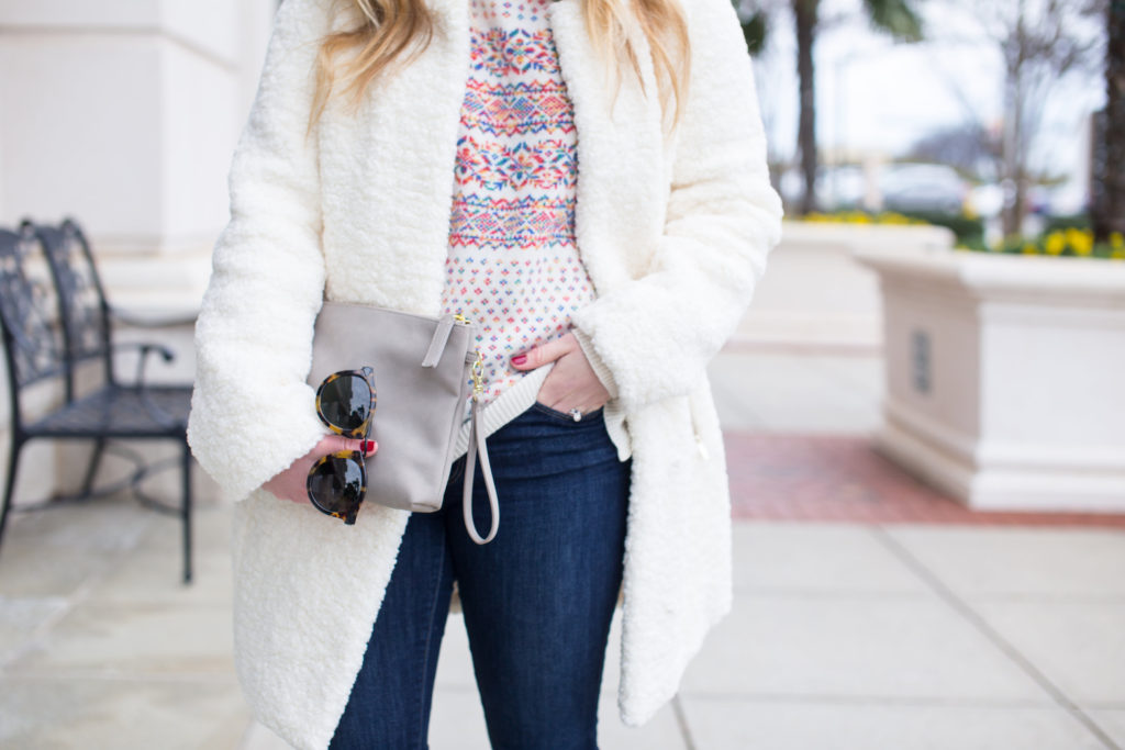 Ivanka Trump Textured Faux Fur Coat, J.Crew Colorful Fair Isle Crewneck Sweater, Clare V. Leopard Flat Haircalf Clutch, Halogen Emily Loafer, Clare V. Leopard Clutch, Colorful Fair Isle