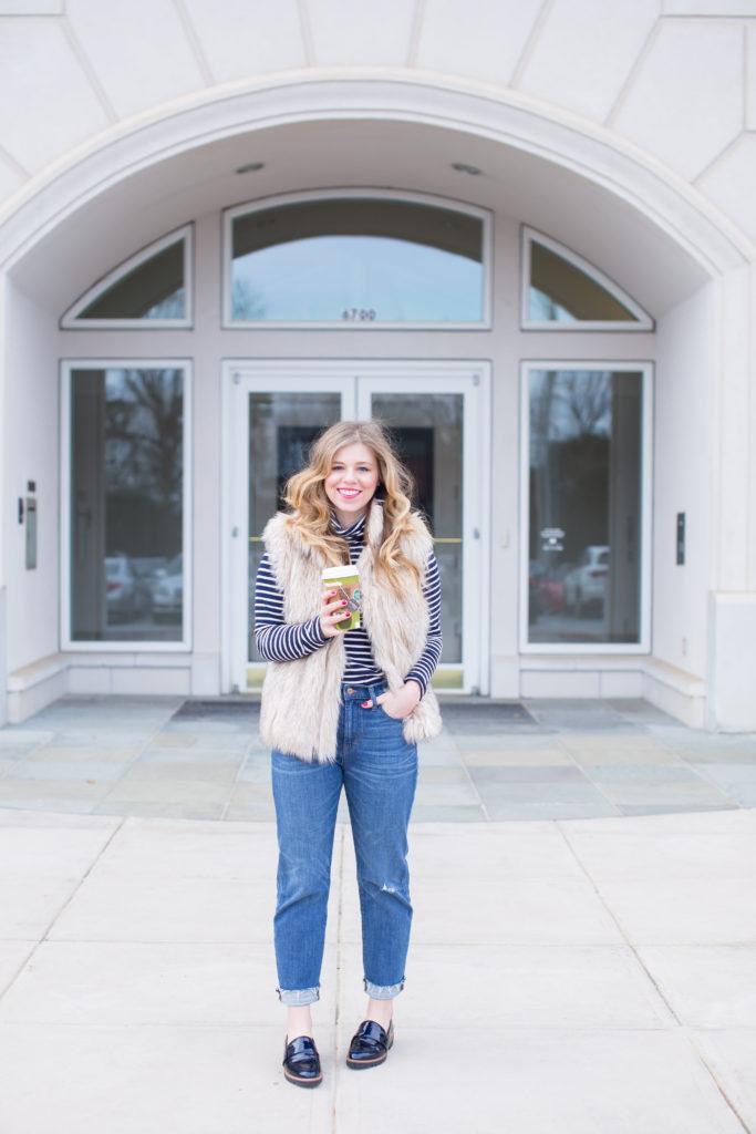 Faux Fur Vest, J.Crew Tissue Turtleneck T-Shirt in Stripe, Halogen Emily Loafer, J.Crew Vintage Crop Jeans, Mom Jeans, Stylish Mom Jeans