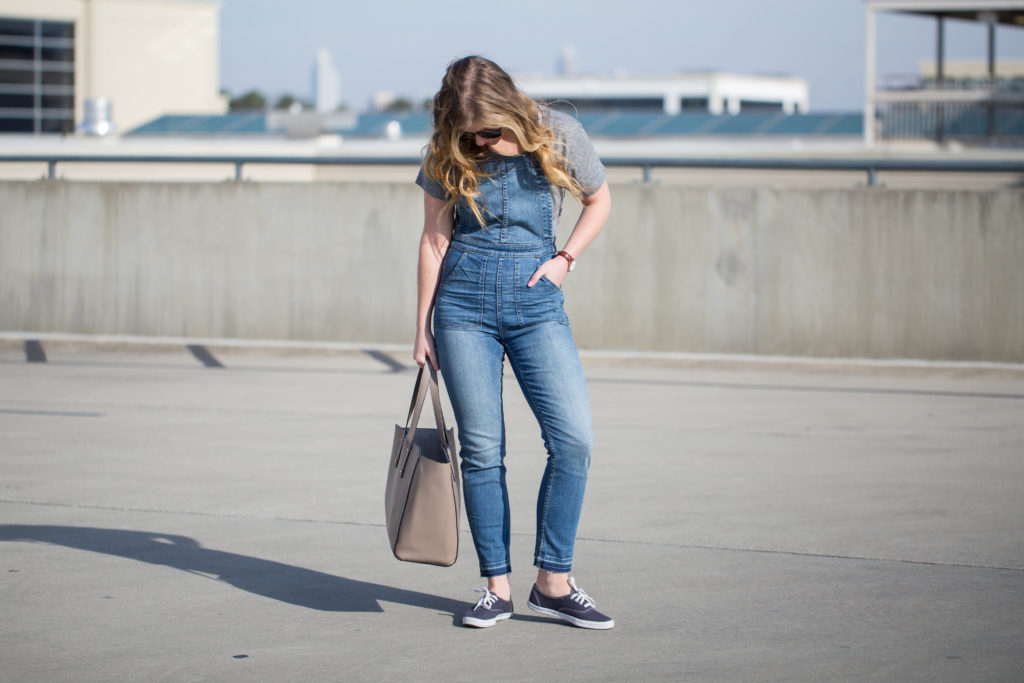 Casual Overalls, Madewell Skinny Overalls Drop Hem Edition, Madewell Overalls, Skinny Overalls, J.Crew French Travel Logo T-Shirt, Ivanka Trump Tote, Keds, Karen Walker Harvest 50mm Retro Sunglasses