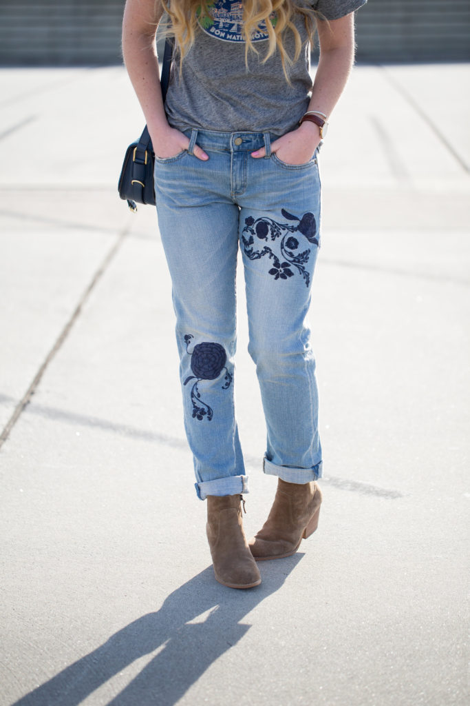 Trendy Denim, Anthropologie Pilcro Em High Rise Boyfriend Jeans, J.Crew French Travel Logo T-shirt, Treasure & Bond Winsor Block Heel Bootie, Ivanka Trump Saddle Bag, Le Specs Air Heart Sunglasses