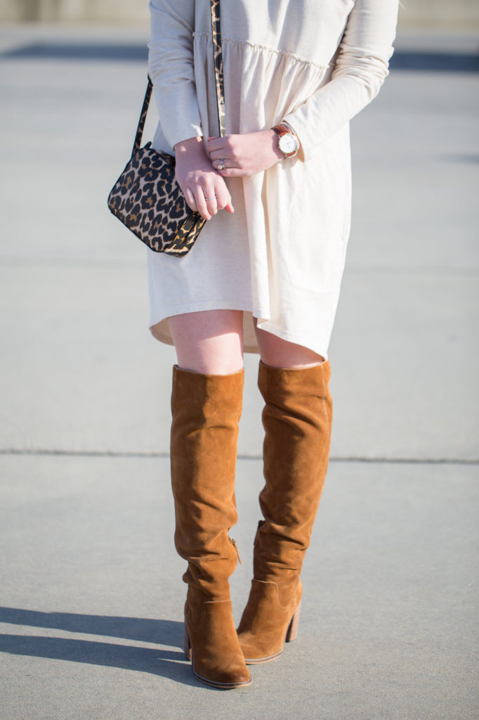 dress up sweatshirt dress, Saturday/Sunday Off the Shoulder Cocoon Dress, Off the Shoulder Dress, Sweatshirt Dress, Le Specs Air Heart Sunglasses, Over The Knee Heeled Boots, Leopard Crossbody, Dress under $100