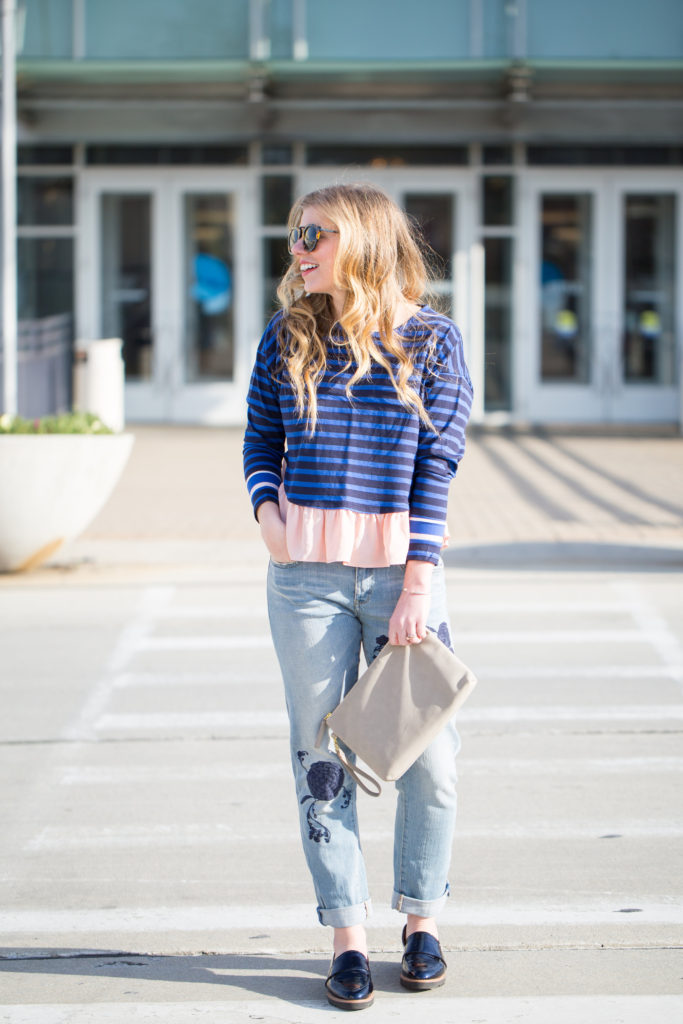 Ruffled Rugby Pullover, Pilcro Em High Rise Boyfriend Jean, Anthropologie, Anthropologie Style, Halogen Emily Loafers, Karen Walker Harvest 50mm Retro Sunglasses, Embroided Jeans, Embroidered Denim, Spring 2017 Trends