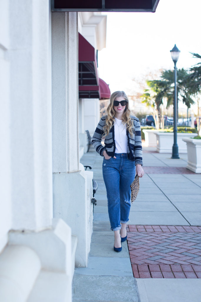 Sweater Jacket, Loft Jacquard Stripe Jacket, J.Crew Vintage Crop Jean, Ann Taylor Mila Suede Pump, Le Specs Air Heart Sunglasses, Clare V. Leopard Flat Haircalf Clutch, Banana Republic Short Sleeve Supima Crew Tee