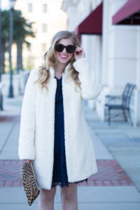Long Sleeve Lace Navy Dress