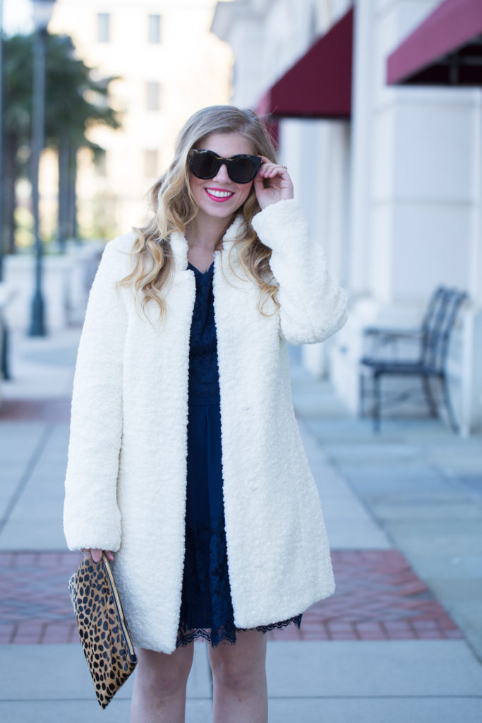 Long Sleeve Lace Dress, Ivanka Trump Textured Faux Fur Coat, Le Specs Air Heart Sunglasses, Ann Taylor Mila Suede Pumps, Clare V. Leopard Flat Haircalf Clutch