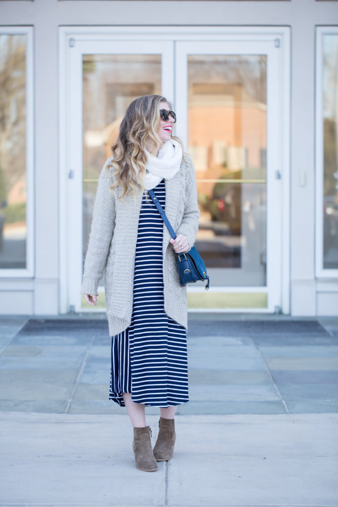 Stripe Midi T-Shirt Dress, Karen Walker Harvest 50mm Retro Sunglasses, Madewell Ryder Cardigan Sweater, Treasure & Bond Winsor Block Heel Booties, Ivanka Trump Claudia Leather and Suede Saddle Crossbody Bag