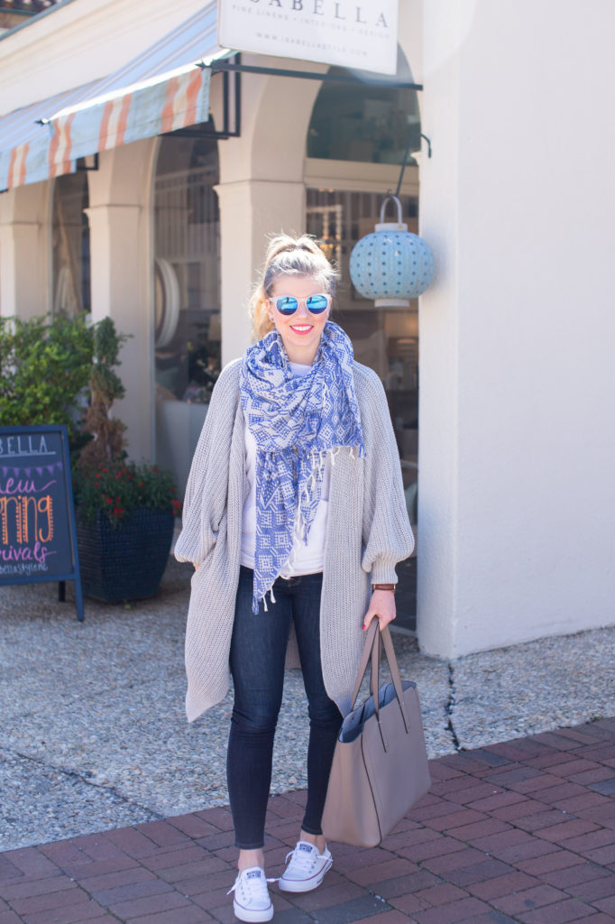Perfect Oversized Cardigan, Kya Ribbed Cardigan, Ivanka Trump Solo Solutions Studded Leather Tote, Converse Shoreline Sneakers, Chuck Taylor All Star Shoreline Sneakers, How to style an oversized cardigan for spring