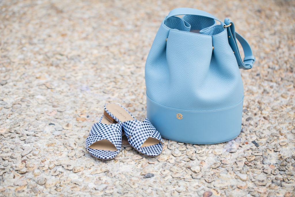 Louella Reese Spring Brunch Style // Baby Blue Bucket Bag & Gingham Slides