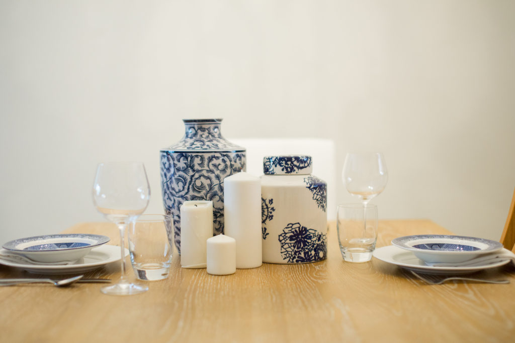 Louella Reese Ginger Jar Centerpiece, Ginger Jars, Blue & White Centerpiece, Blue & White Decor