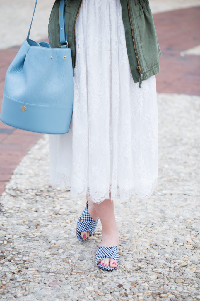 Louella Reese Spring Brunch Style // White Lace Midi Dress for Brunch