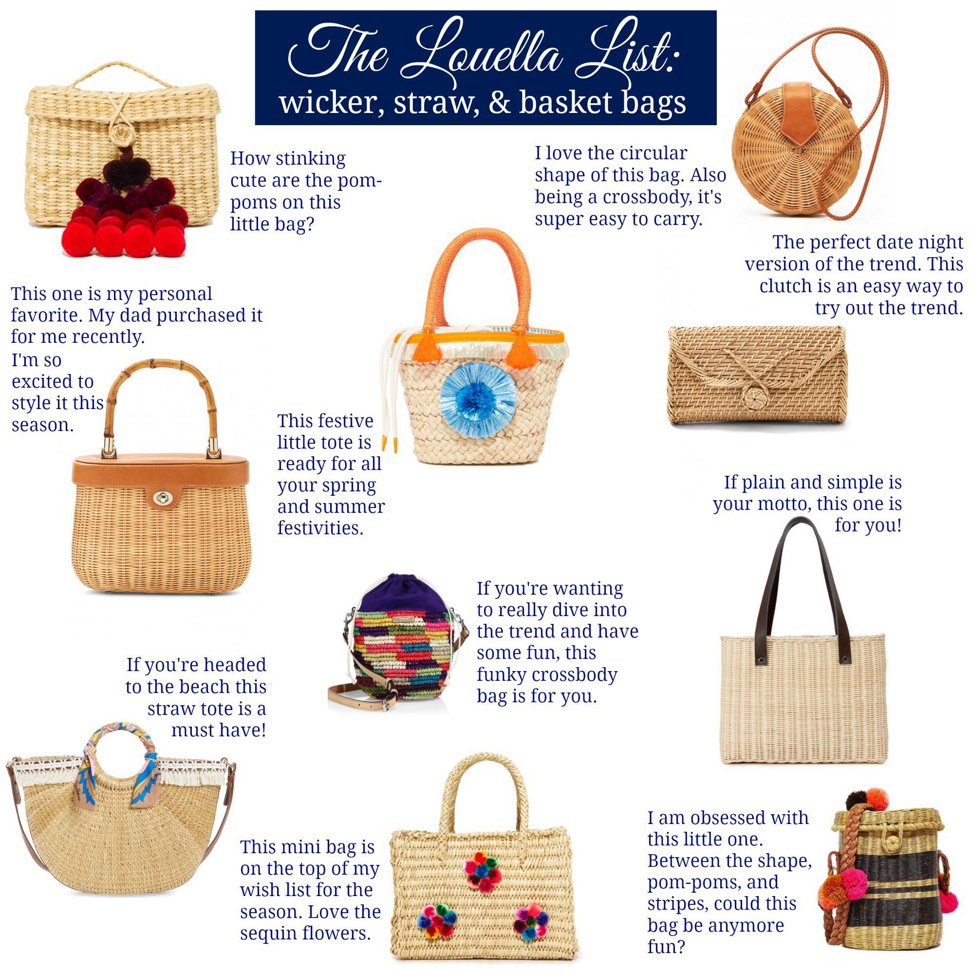 Straw Bags, Basket Bags, Wicker Bags, Spring Must Have Bags, The Louella List: Wicker Straw & Basket Bags