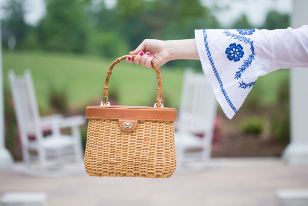 Louella Reese Embroidered Bell Sleeve Top // J.McLaughlin Basket Bag
