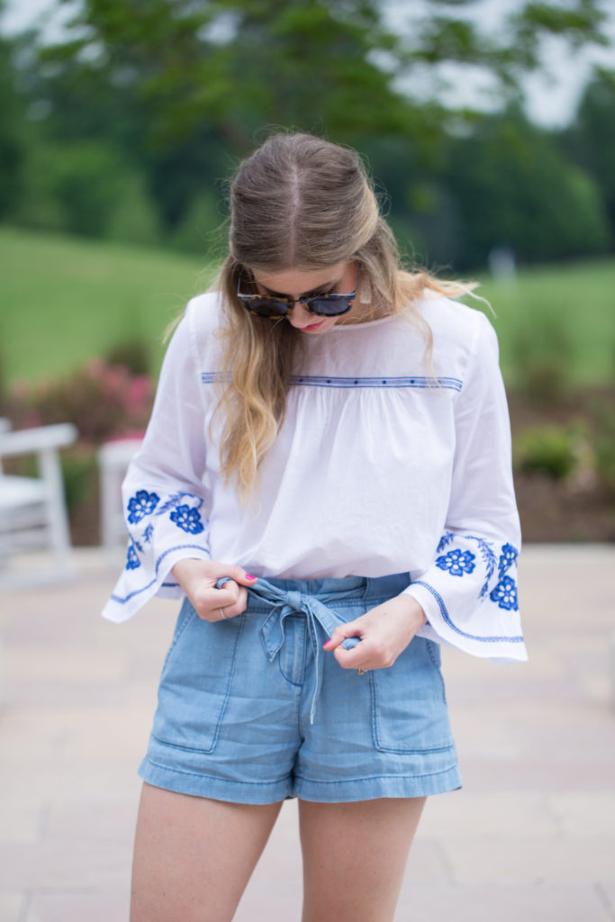 Louella Reese Embroidered Bell Sleeve Top // Summer Weekend Style