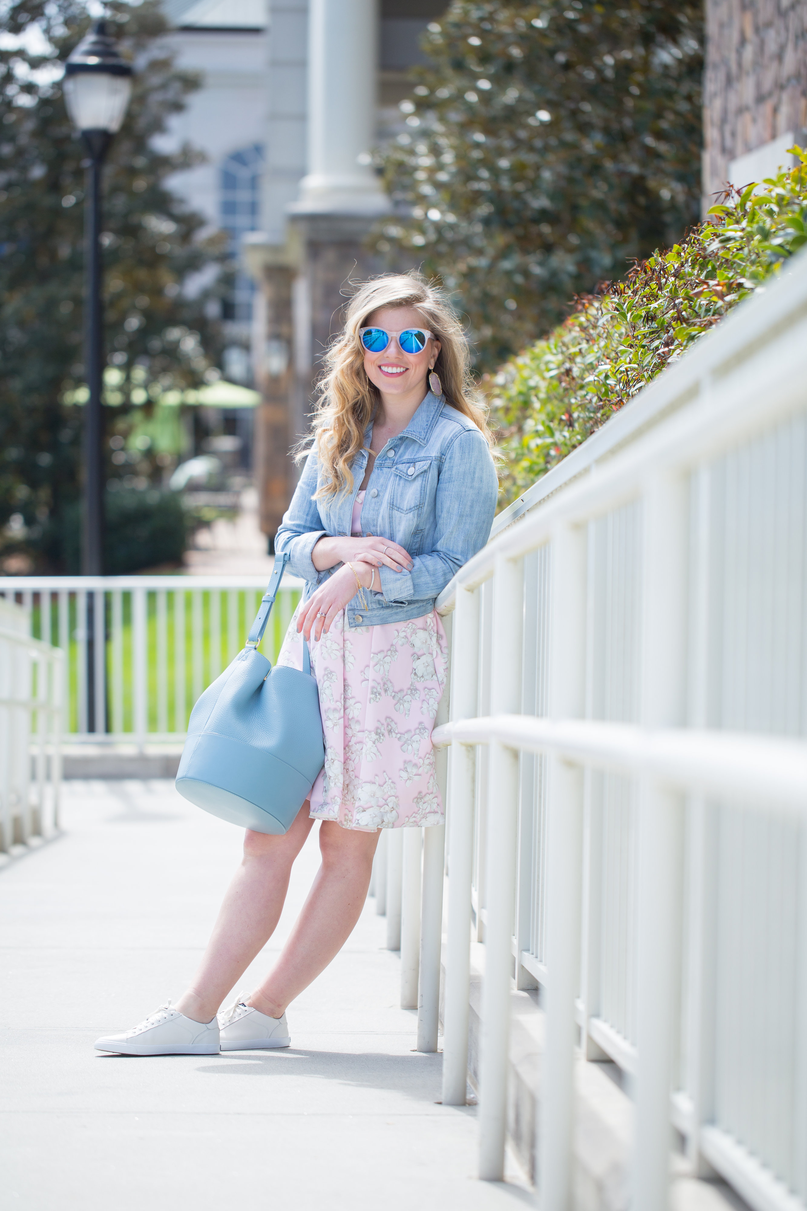 Louella Reese Pink Floral Fit & Flare Dress // How to White Sneakers with a Dress