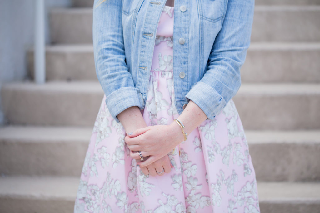 Louella Reese Pink Floral Fit & Flare Dress // How to Style White Tennis Shoes with a Dress