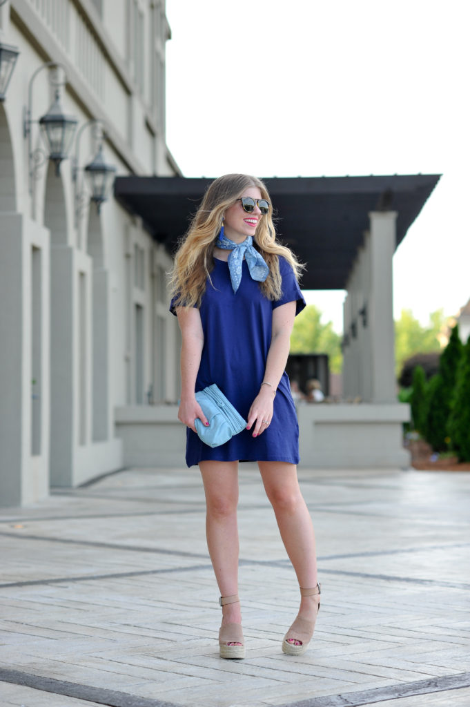 Louella Reese Navy T-Shirt Dress under $10 // How to Dress Up a T-Shirt Dress
