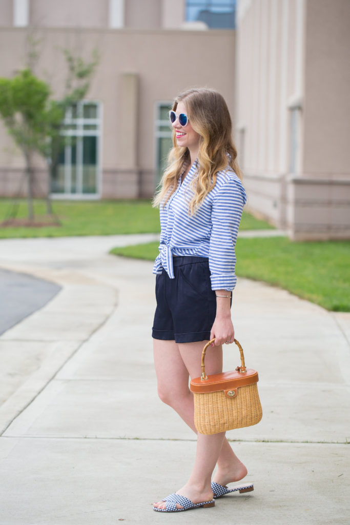 Louella Reese Sateen Shorts // Silk Shorts for Summer + Basket Bag