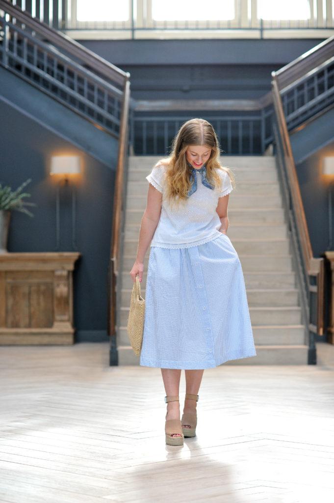 Louella Reese Seersucker Midi Skirt // Summer Picnic Style