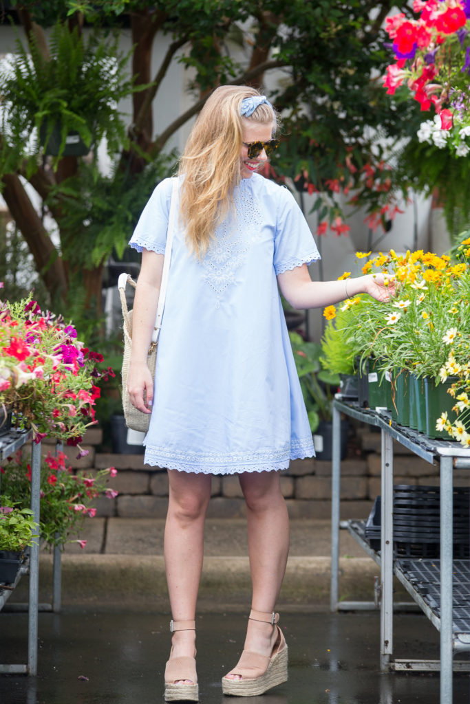 Blue Embroidered Shift Dress | Louella Reese | Charlotte Life & Style Blog