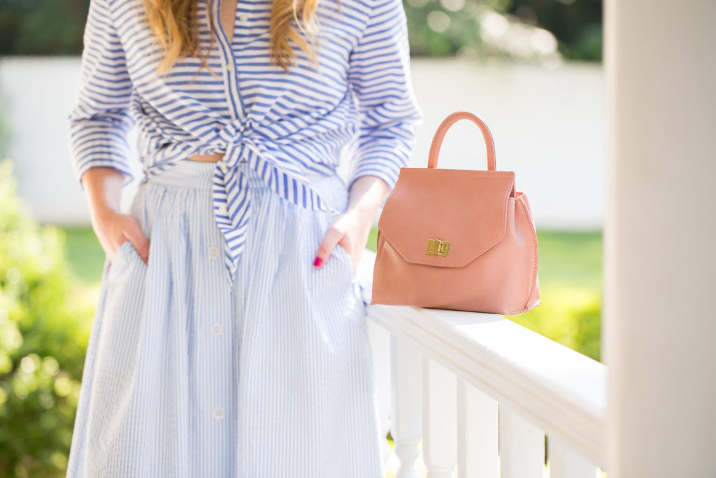 Louella Reese Coordinating Stripes // Pink Mini Bag