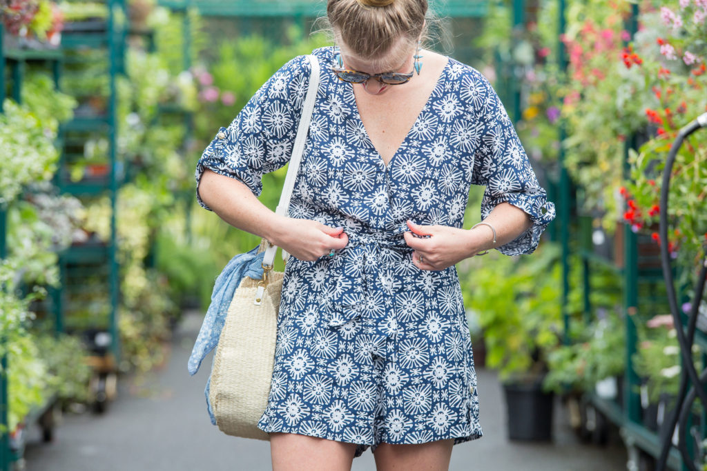 Navy and White Three Quarter Sleeve Romper | Louella Reese | Charlotte Life & Style Blogger