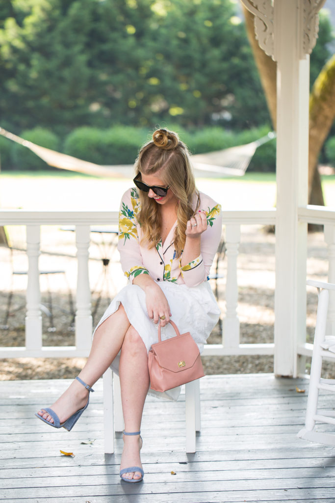 Floral Pajama Shirt | Louella Reese | Charlotte Life & Style Blog