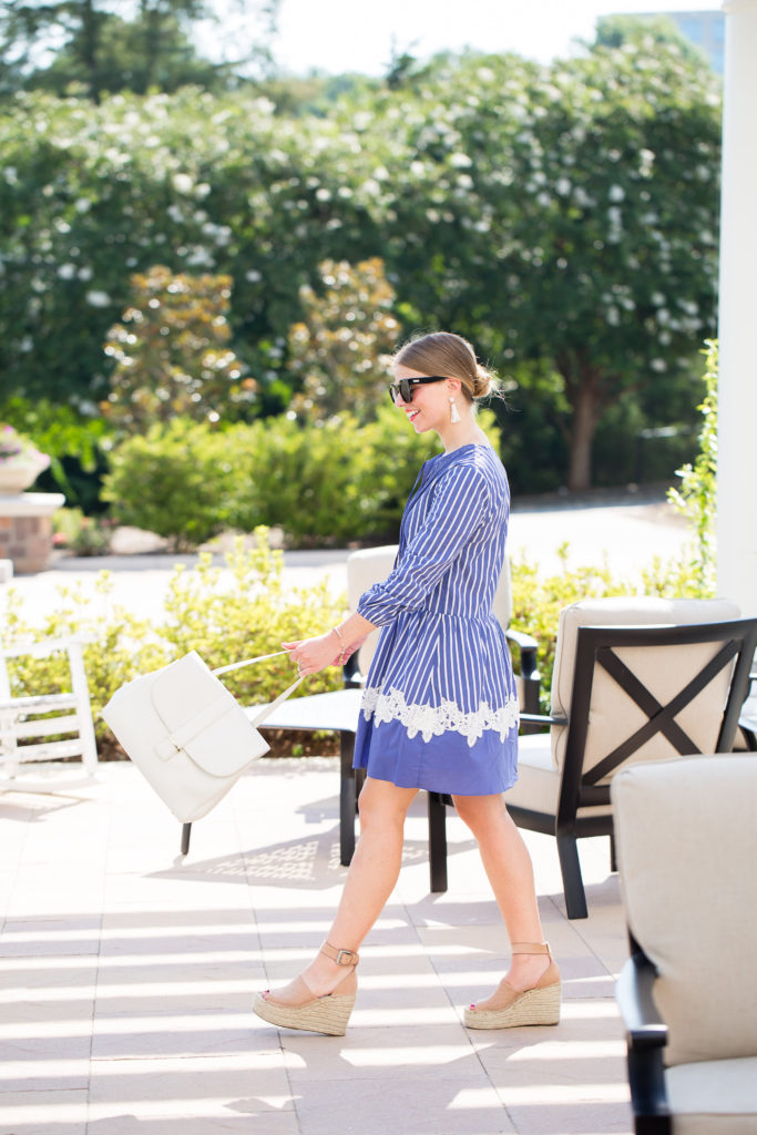 Stripe Dress with Lace // Blue and White Stripe Dress // White Handbag // Louella Reese // Life & Style Blog