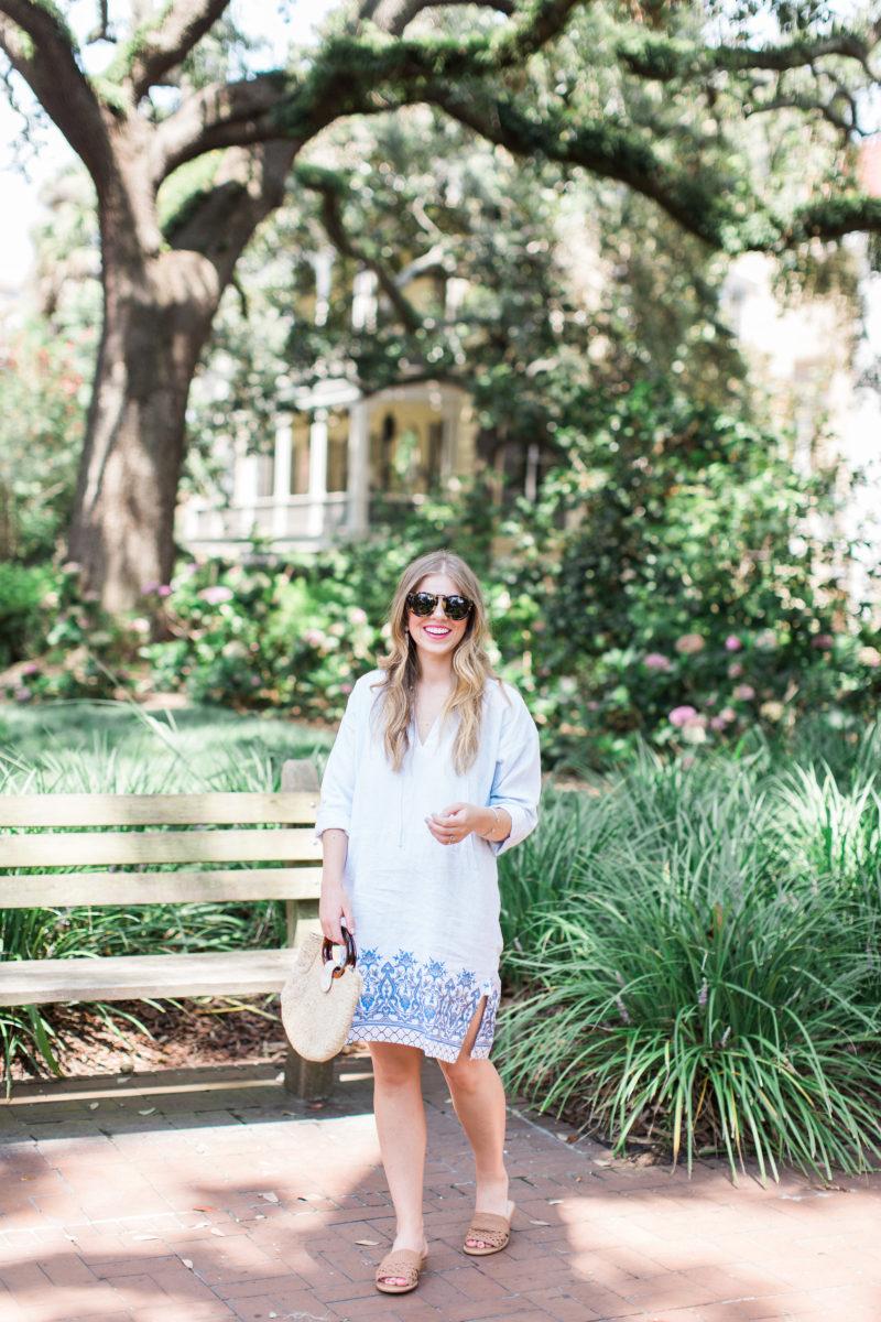 Blue Linen Tunic Dress // Savannah Historic District