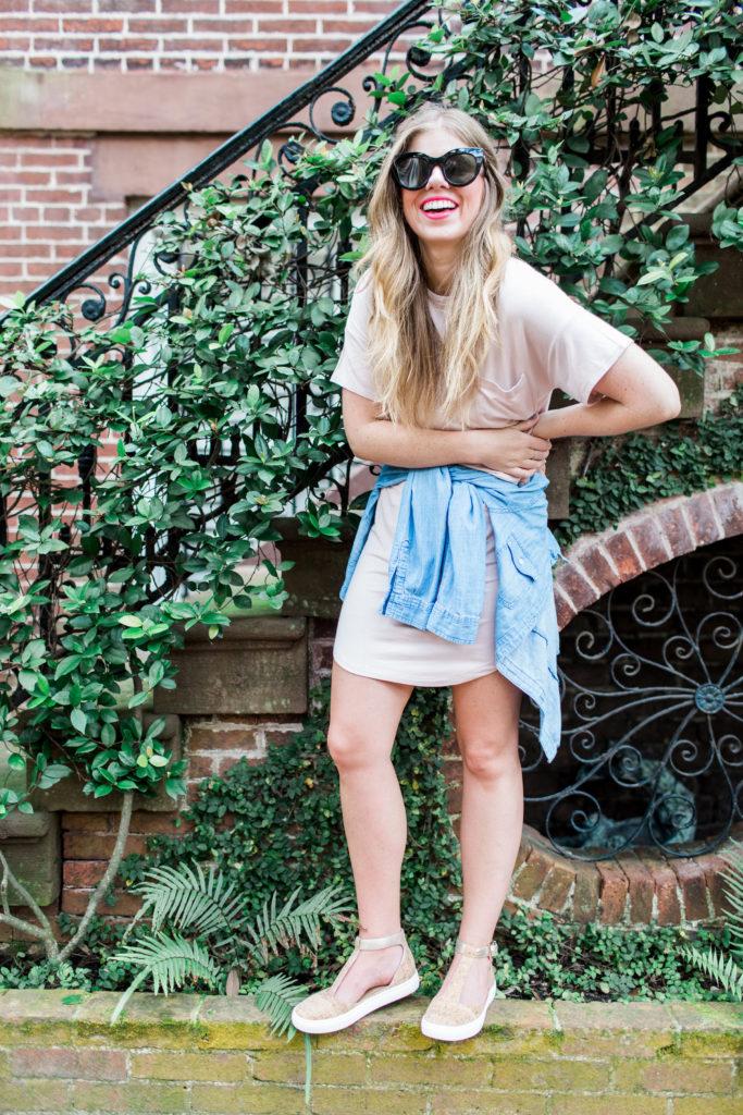 Blush T-Shirt Dress // Cork Sneakers // Savannah Historic District // Louella Reese Life & Style Blog