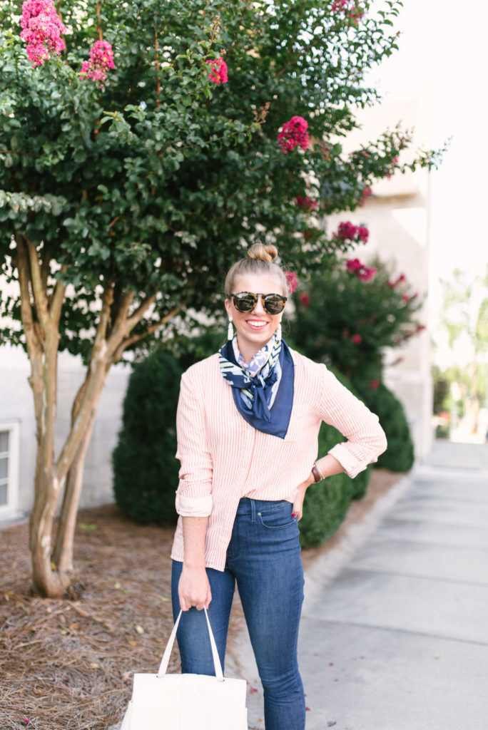 Classic Stripe Button Up Shirt // Mastering The JCrew Half Tuck // Late Summer Style // Louella Reese Life & Style Blog