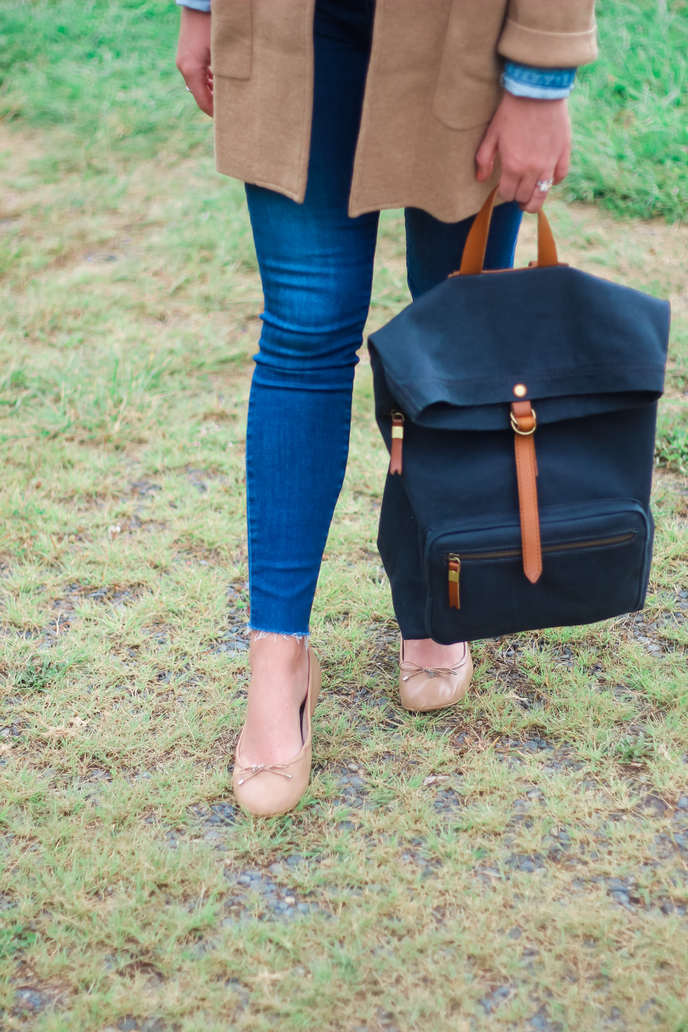 Madewell Canvas Foldover Backpack | Fall Layering | Louella Reese Life & Style Blogger